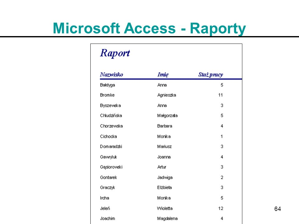 Microsoft Access - Raporty