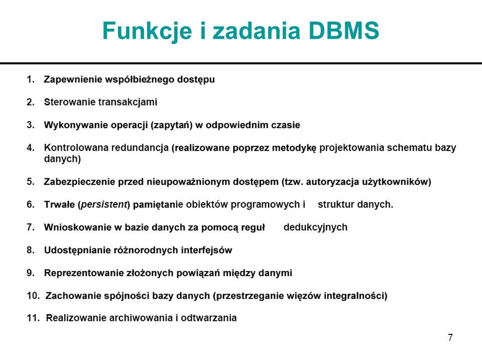 Funkcje i zadania DBMS