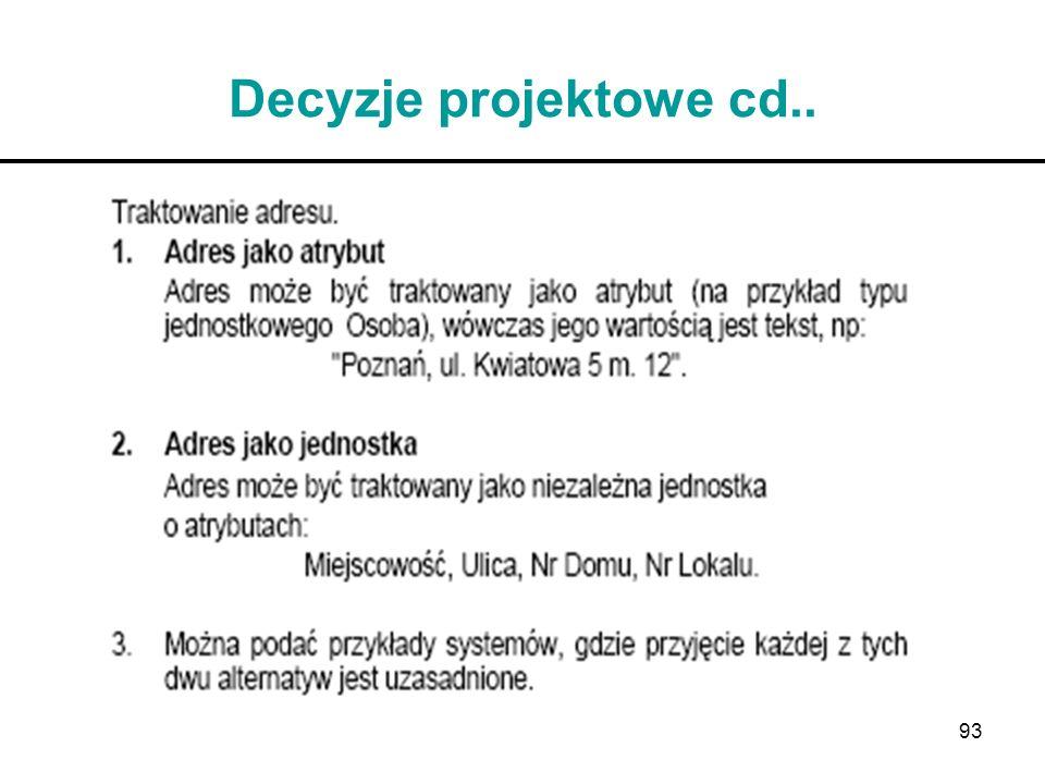 Decyzje projektowe cd..