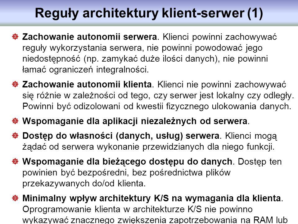 Reguły architektury klient-serwer (1)