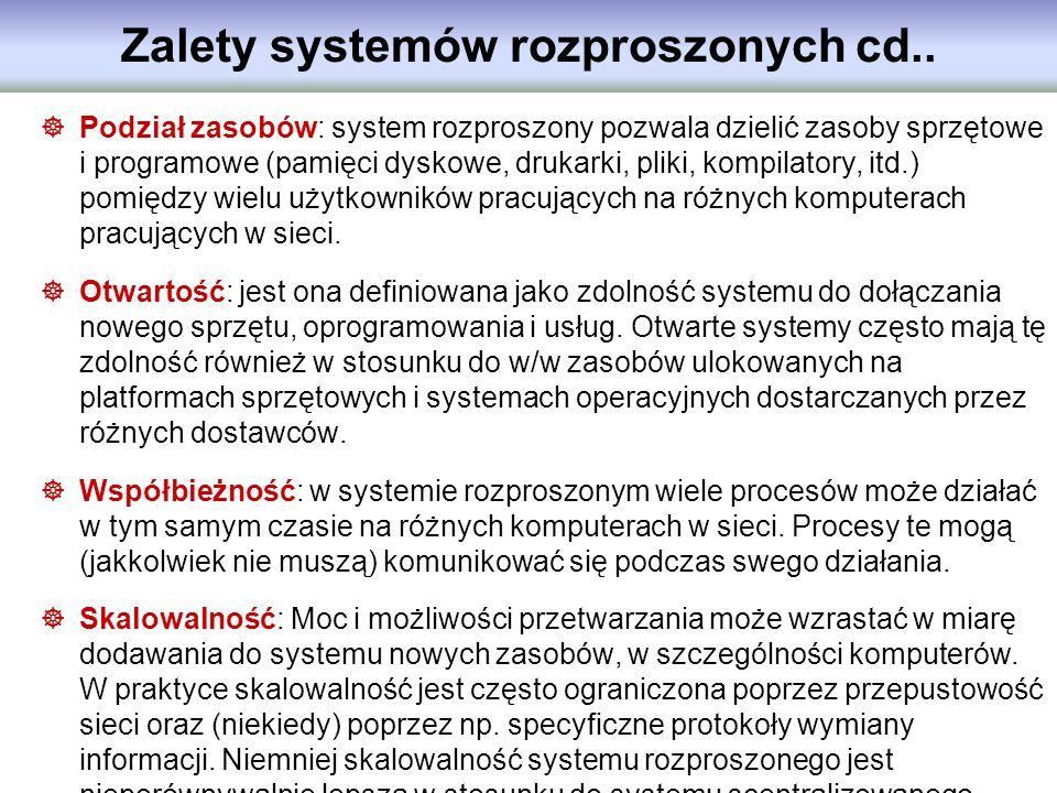 Zalety systemów rozproszonych cd..