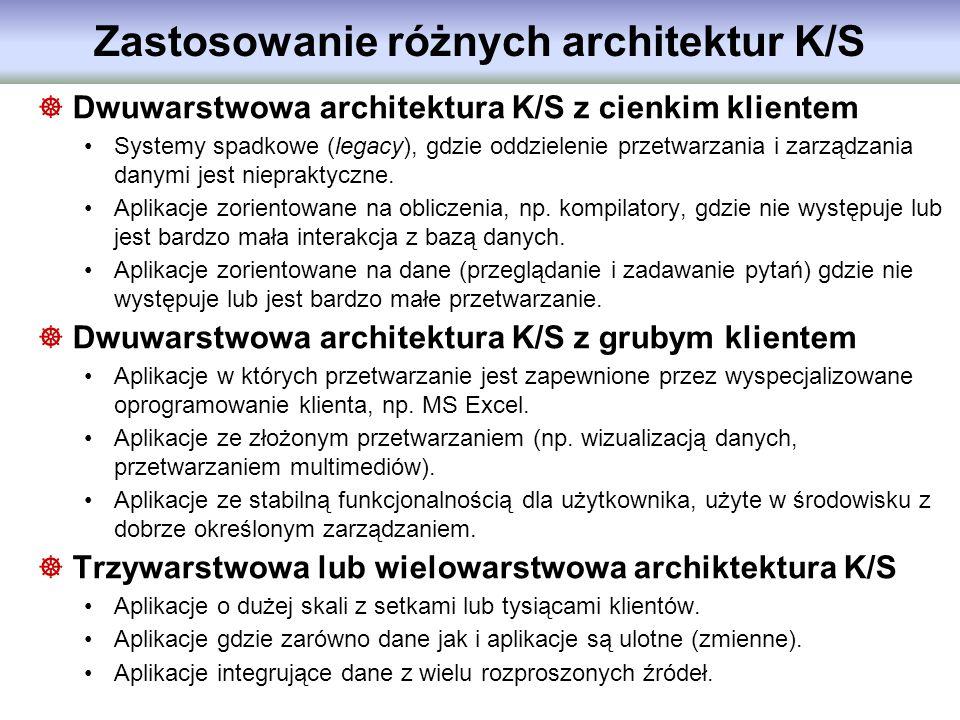 Zastosowanie różnych architektur K/S