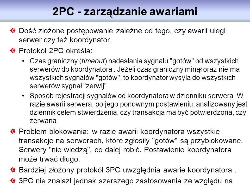 2PC - zarządzanie awariami