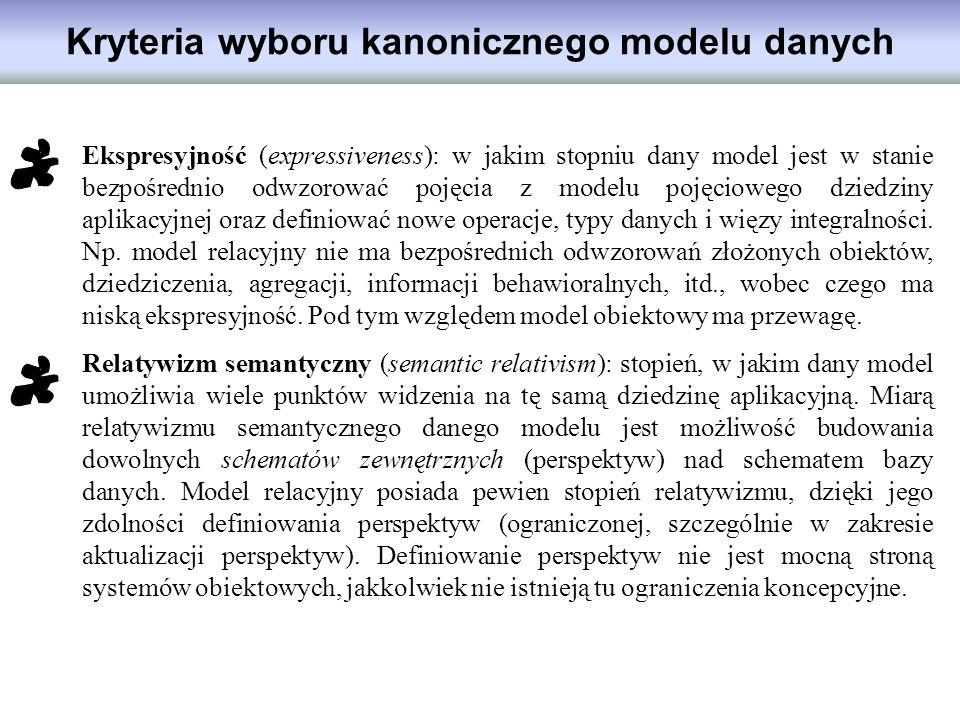 Kryteria wyboru kanonicznego modelu danych