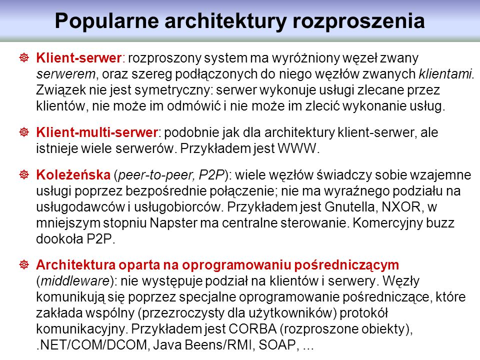 Popularne architektury rozproszenia
