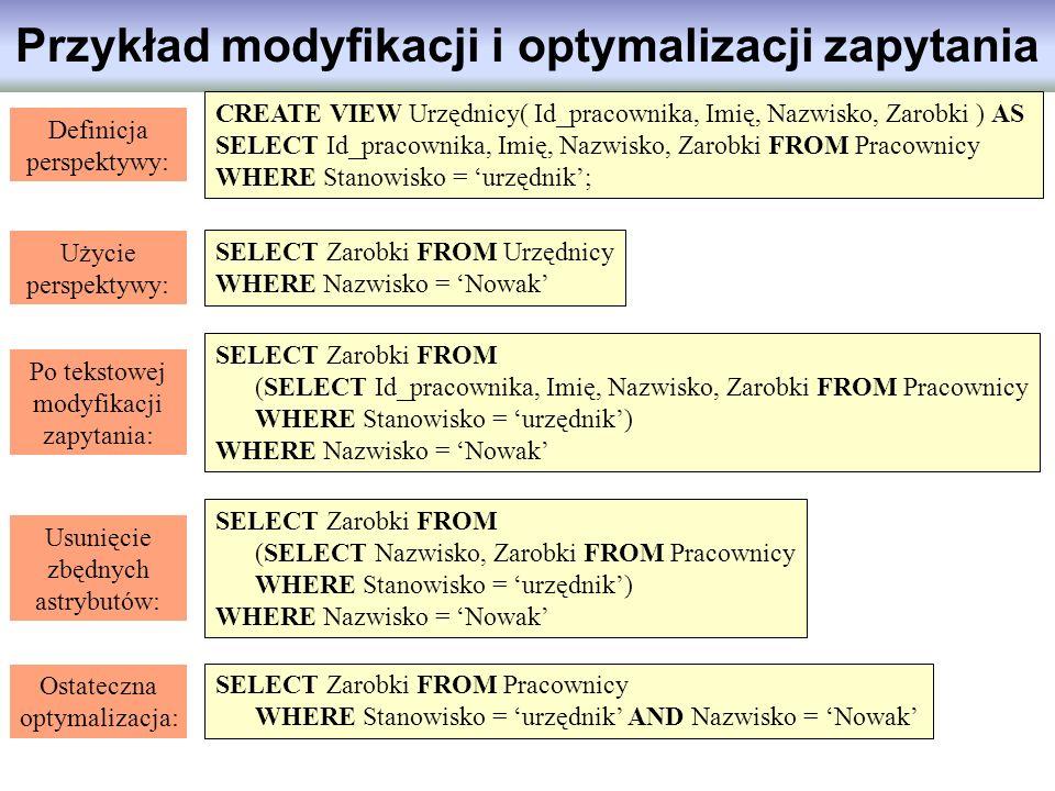 Przykład modyfikacji i optymalizacji zapytania