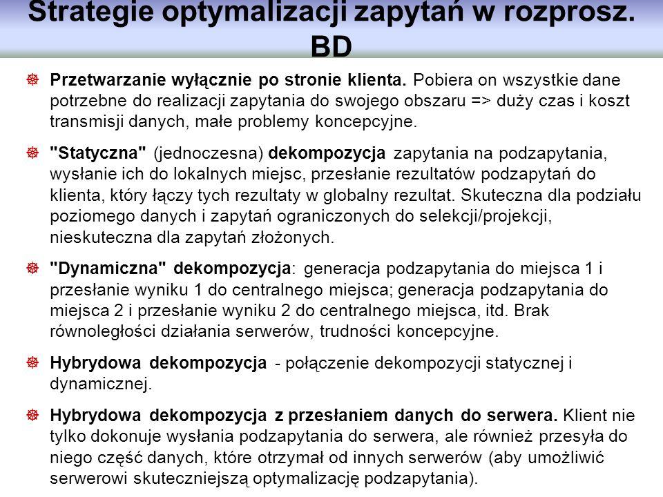 Strategie optymalizacji zapytań w rozprosz. BD