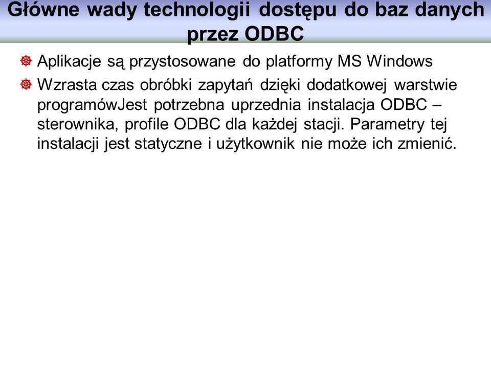 Główne wady technologii dostępu do baz danych przez ODBC
