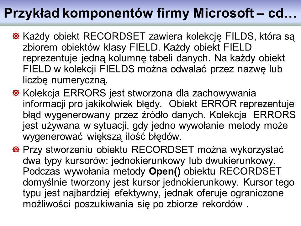 Przykład komponentów firmy Microsoft – cd…