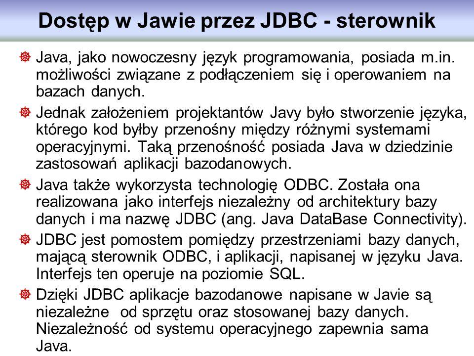 Dostęp w Jawie przez JDBC - sterownik