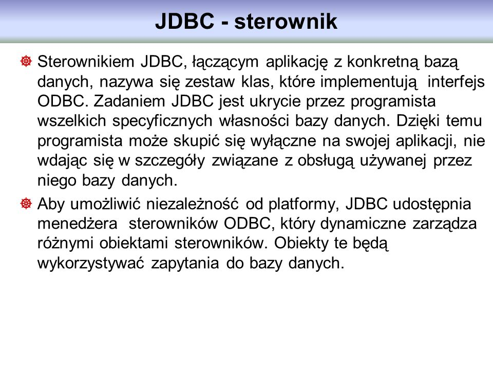 JDBC - sterownik