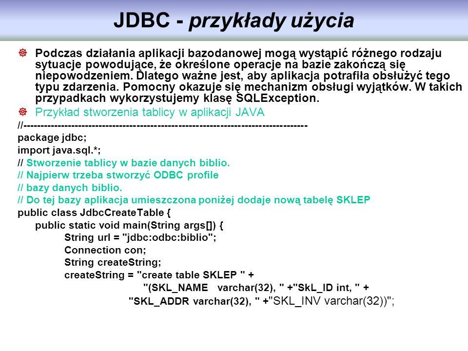 JDBC - przykłady użycia
