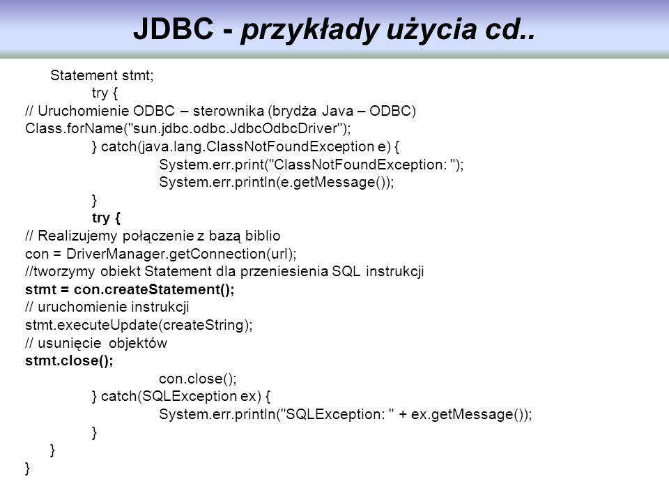 JDBC - przykłady użycia cd..