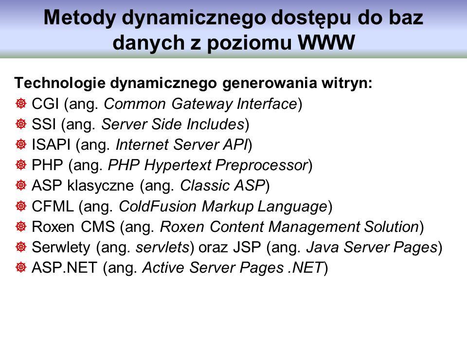 Metody dynamicznego dostępu do baz danych z poziomu WWW