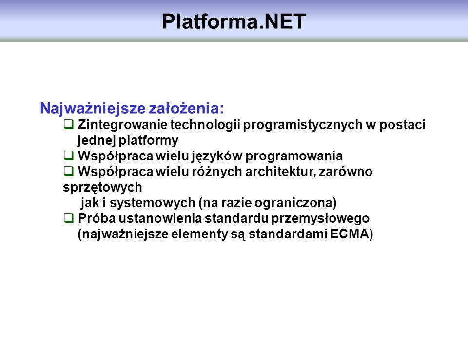 Platforma.NET Najważniejsze założenia: