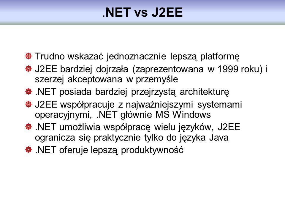 .NET vs J2EE Trudno wskazać jednoznacznie lepszą platformę