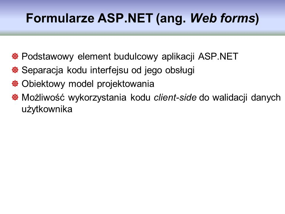 Formularze ASP.NET (ang. Web forms)
