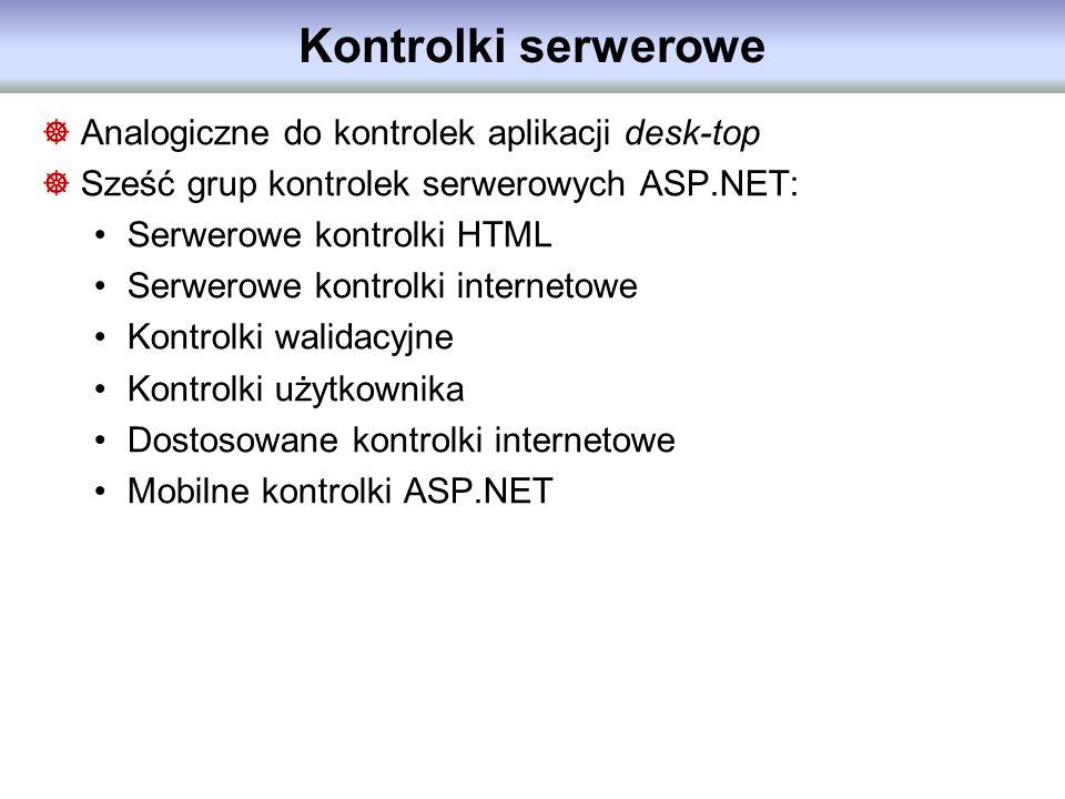 Kontrolki serwerowe Analogiczne do kontrolek aplikacji desk-top