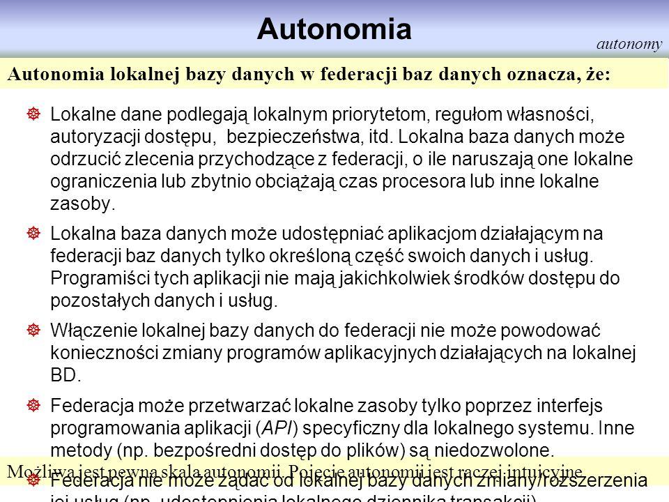 Autonomia autonomy. Autonomia lokalnej bazy danych w federacji baz danych oznacza, że: