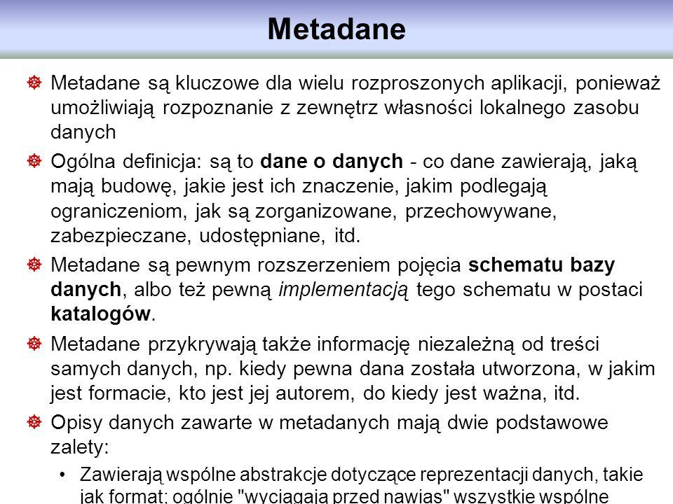 Metadane Metadane są kluczowe dla wielu rozproszonych aplikacji, ponieważ umożliwiają rozpoznanie z zewnętrz własności lokalnego zasobu danych.
