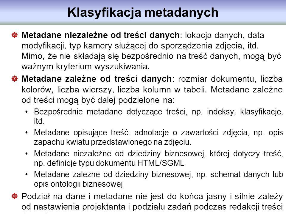 Klasyfikacja metadanych