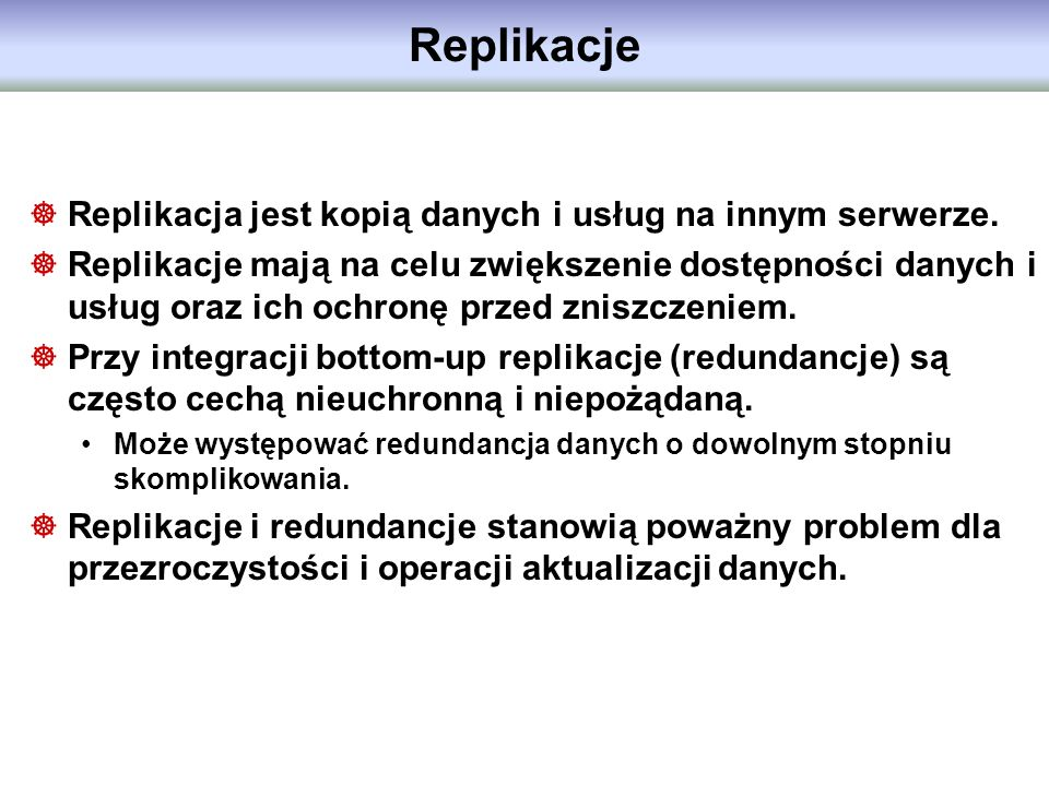 Replikacje Replikacja jest kopią danych i usług na innym serwerze.