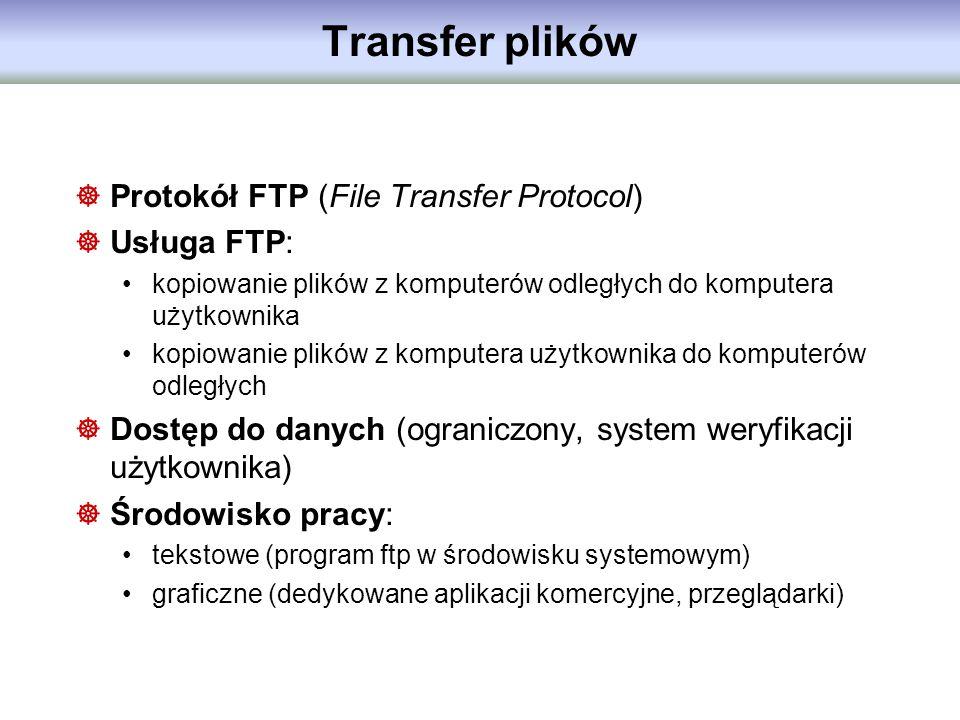 Transfer plików Protokół FTP (File Transfer Protocol) Usługa FTP: