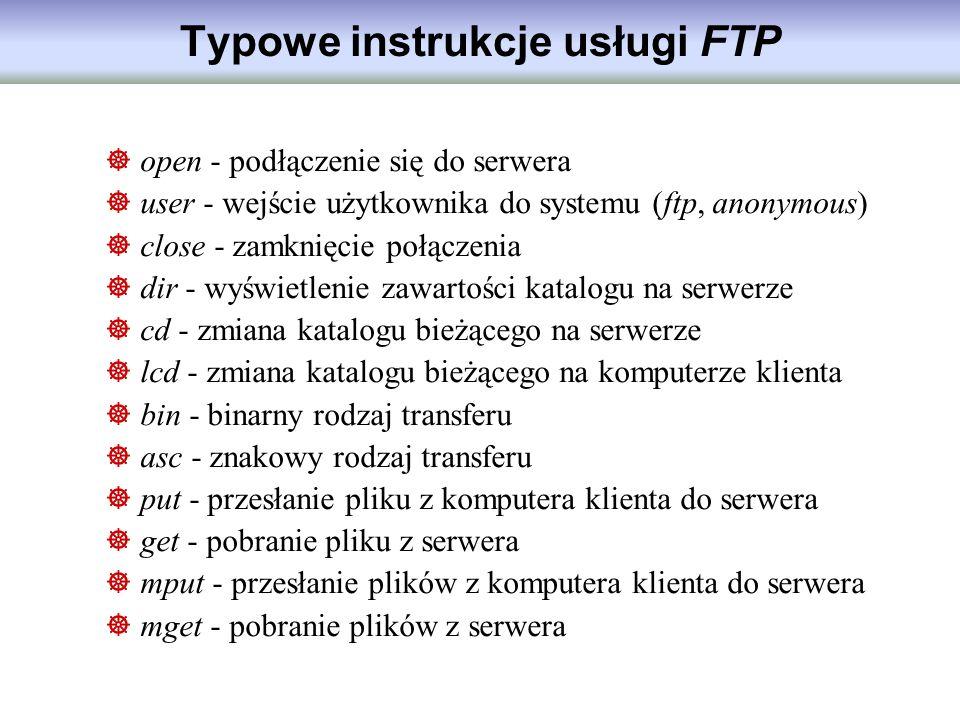 Typowe instrukcje usługi FTP