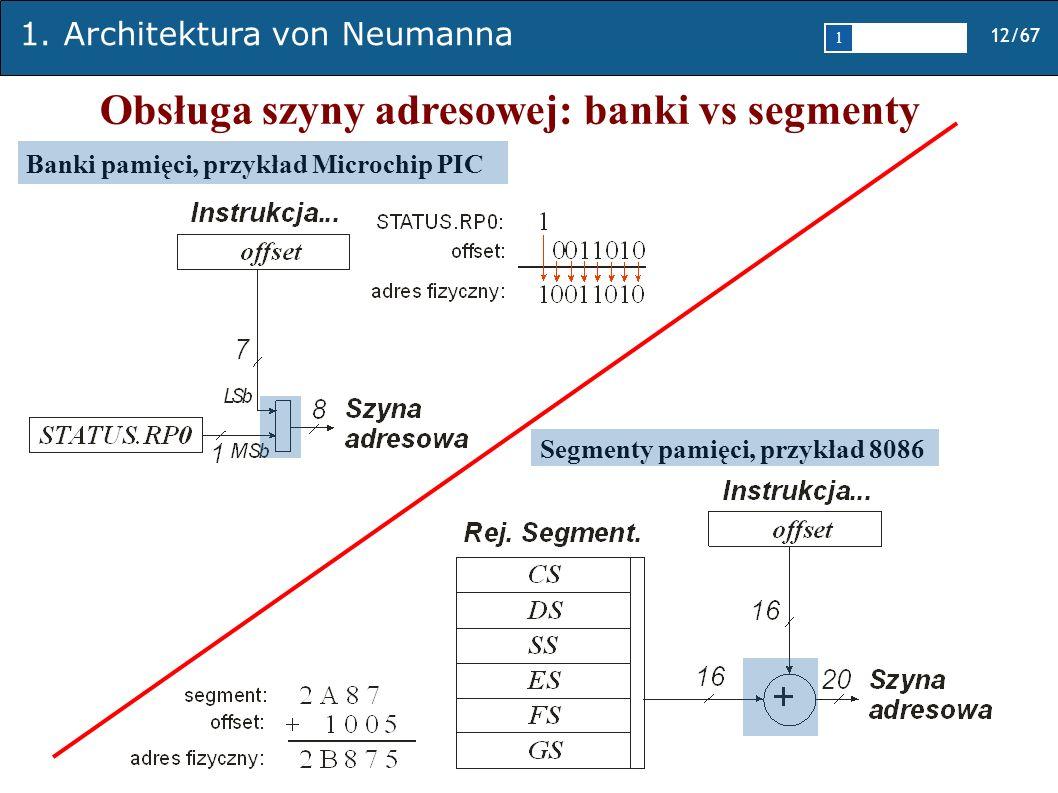 Obsługa szyny adresowej: banki vs segmenty