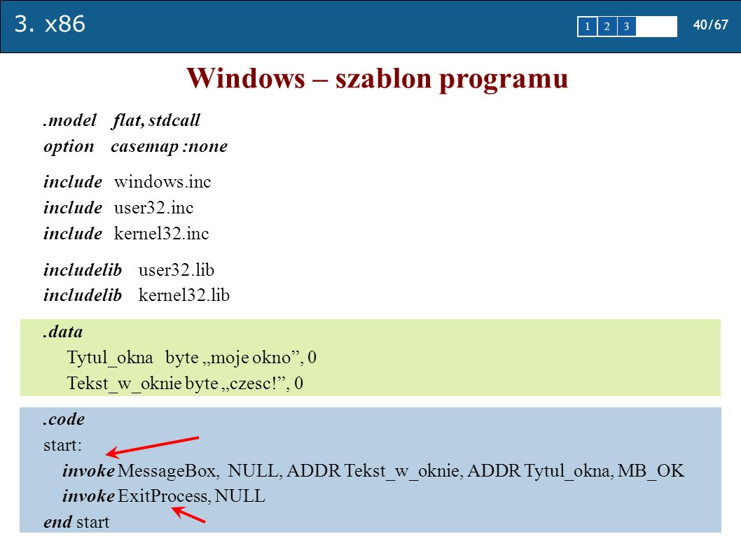 Windows – szablon programu