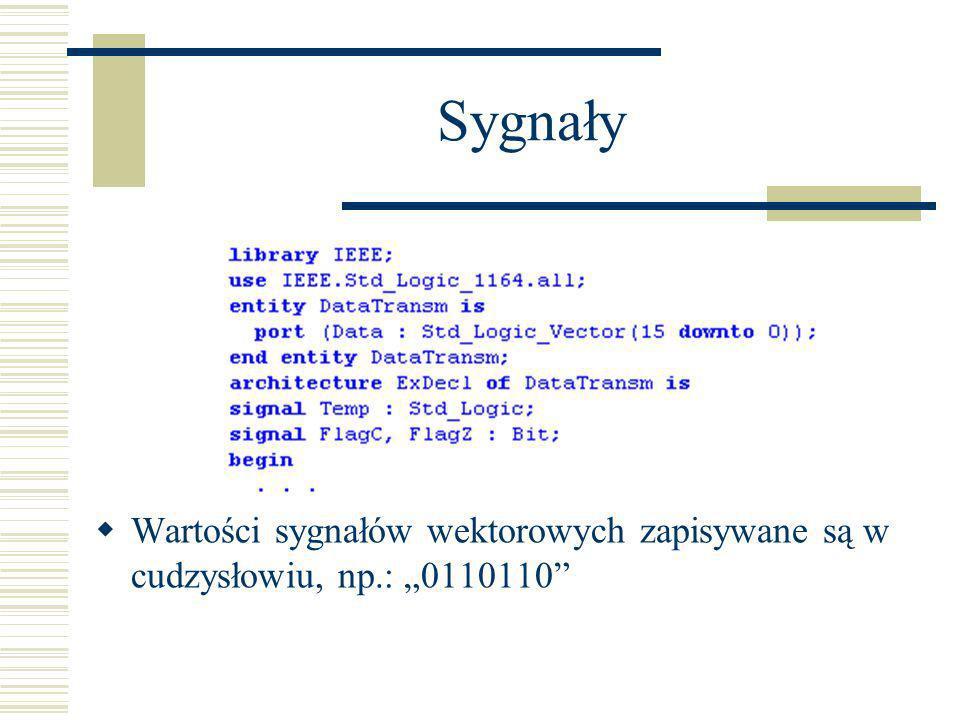 """Sygnały Wartości sygnałów wektorowych zapisywane są w cudzysłowiu, np.: """"0110110"""