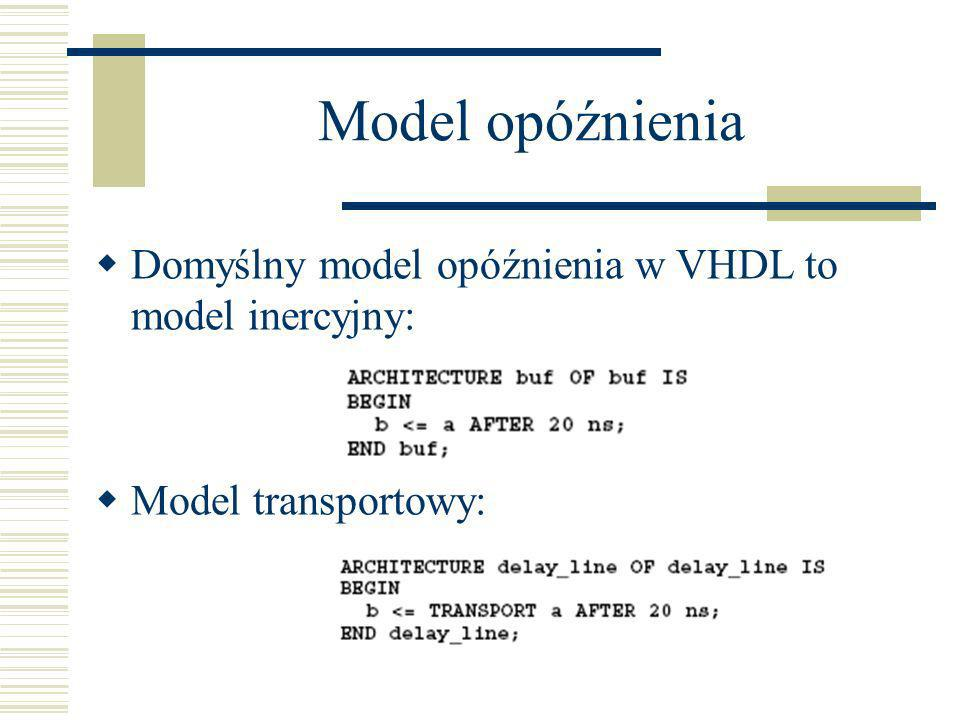 Model opóźnienia Domyślny model opóźnienia w VHDL to model inercyjny: