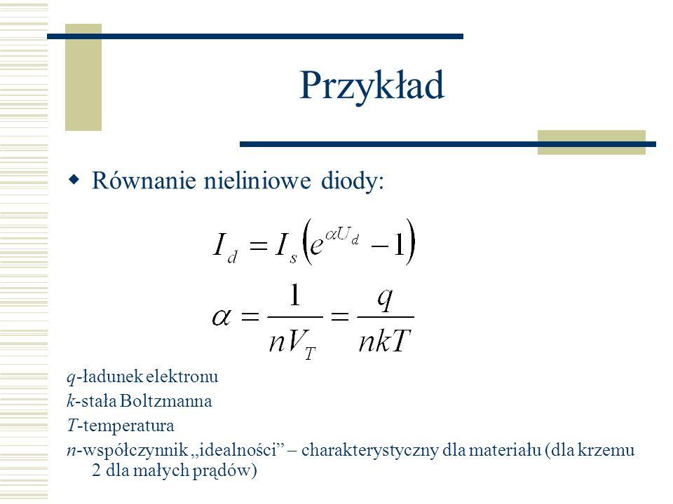 Przykład Równanie nieliniowe diody: q-ładunek elektronu