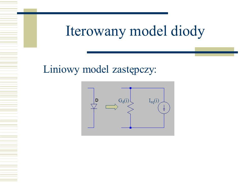 Iterowany model diody Liniowy model zastępczy: Gd(i) Ieq(i)