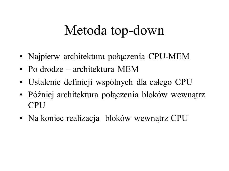 Metoda top-down Najpierw architektura połączenia CPU-MEM
