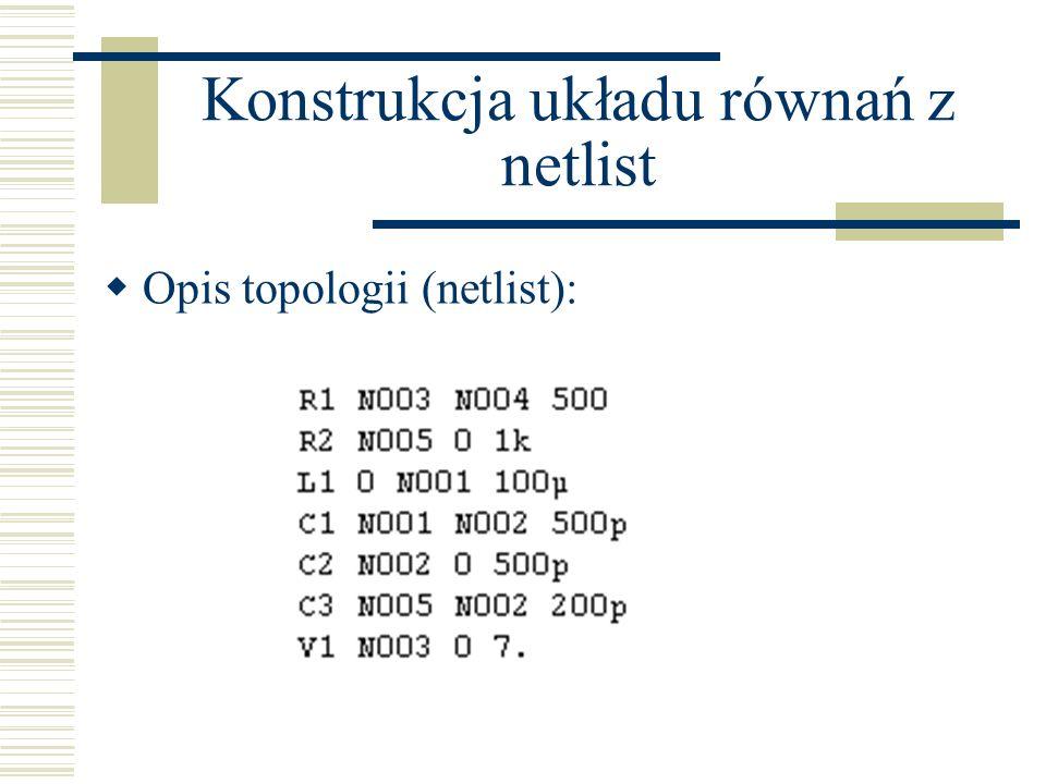 Konstrukcja układu równań z netlist