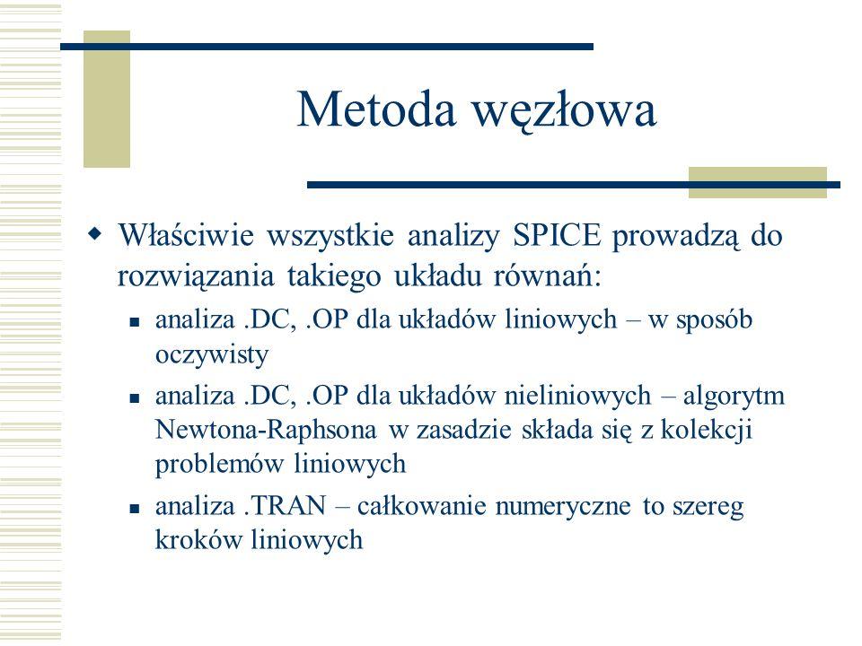 Metoda węzłowa Właściwie wszystkie analizy SPICE prowadzą do rozwiązania takiego układu równań: