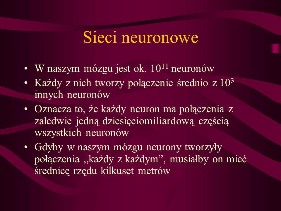 Sieci neuronowe W naszym mózgu jest ok. 1011 neuronów