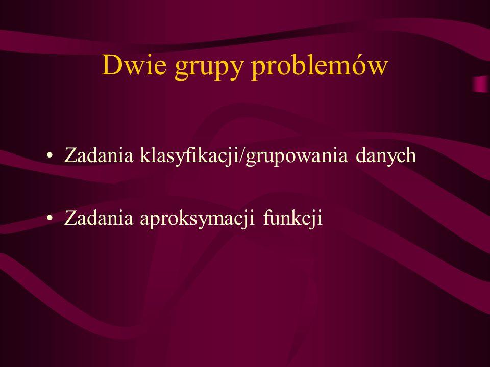 Dwie grupy problemów Zadania klasyfikacji/grupowania danych