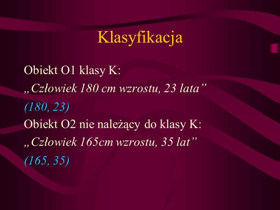 """Klasyfikacja Obiekt O1 klasy K: """"Człowiek 180 cm wzrostu, 23 lata"""