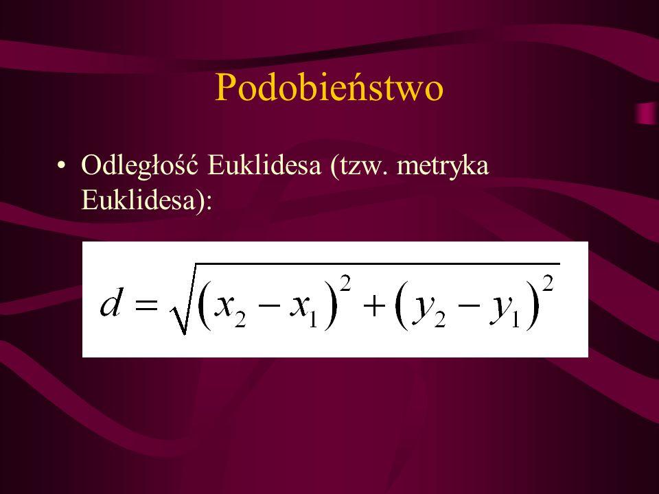 Podobieństwo Odległość Euklidesa (tzw. metryka Euklidesa):