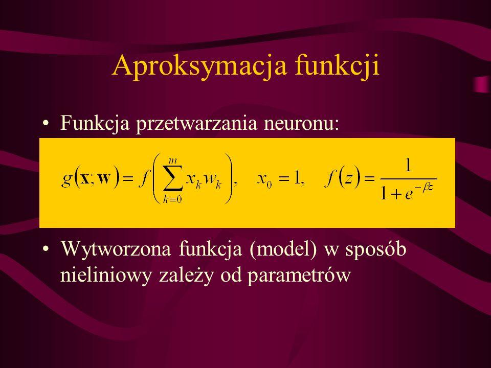 Aproksymacja funkcji Funkcja przetwarzania neuronu:
