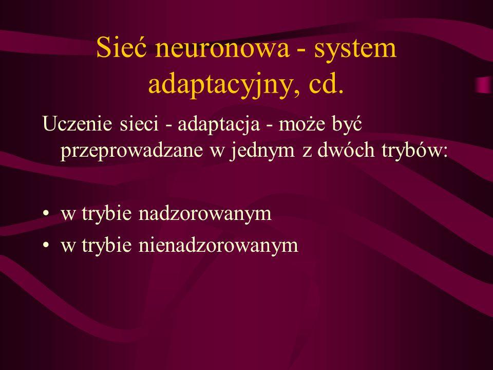 Sieć neuronowa - system adaptacyjny, cd.