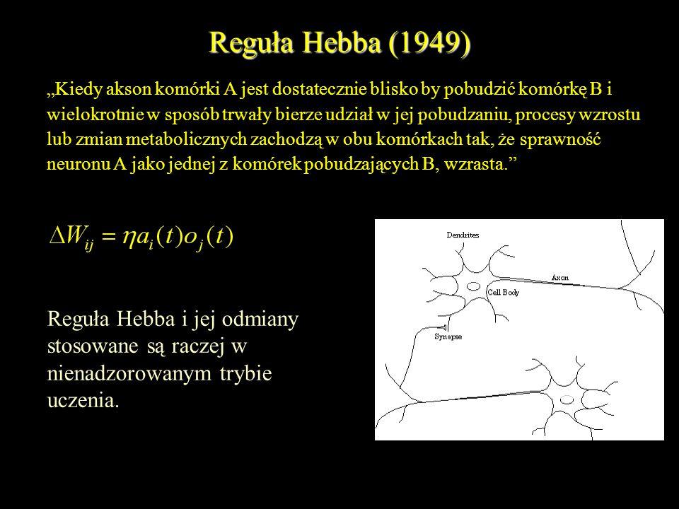 Reguła Hebba (1949) Reguła Hebba i jej odmiany