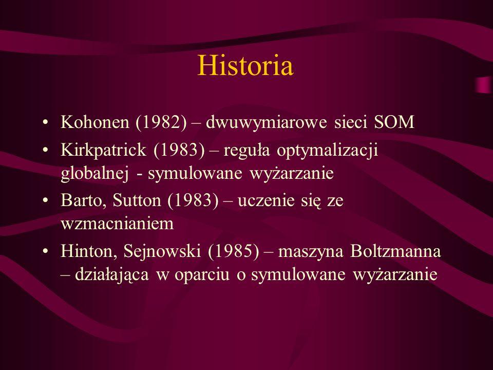 Historia Kohonen (1982) – dwuwymiarowe sieci SOM