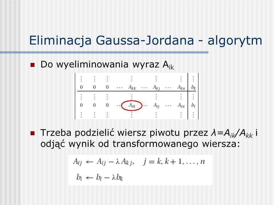 Eliminacja Gaussa-Jordana - algorytm