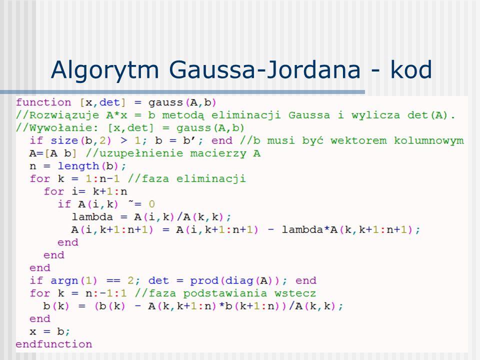 Algorytm Gaussa-Jordana - kod