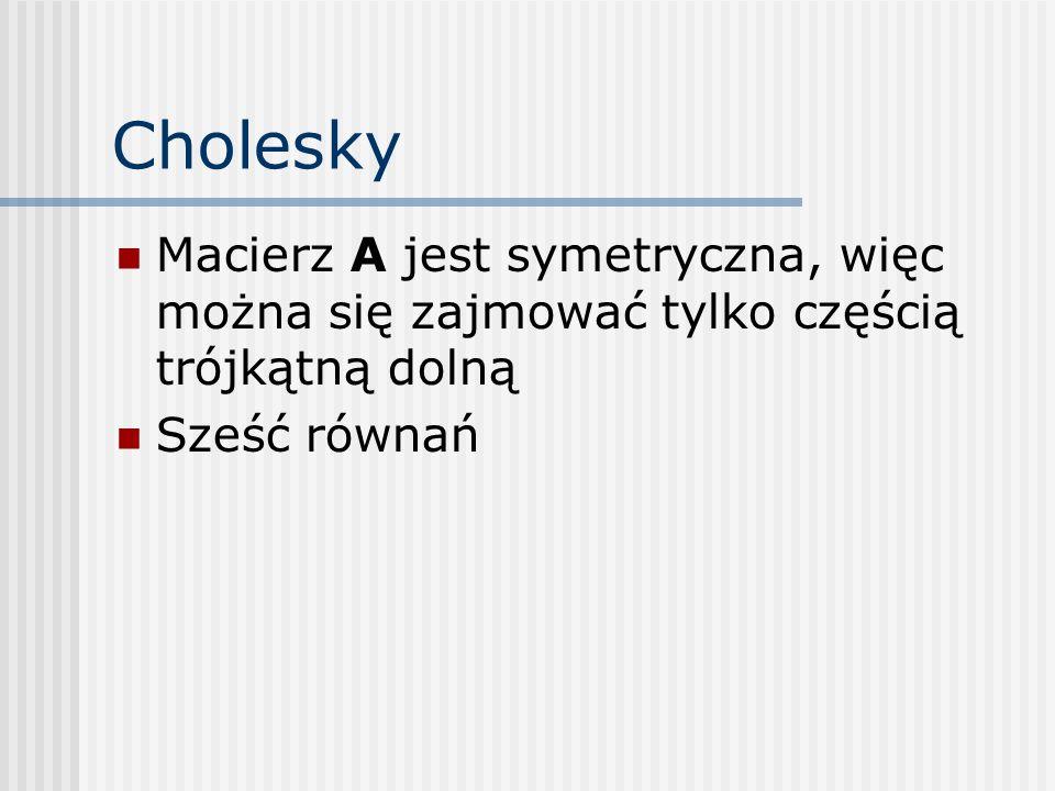 Cholesky Macierz A jest symetryczna, więc można się zajmować tylko częścią trójkątną dolną.