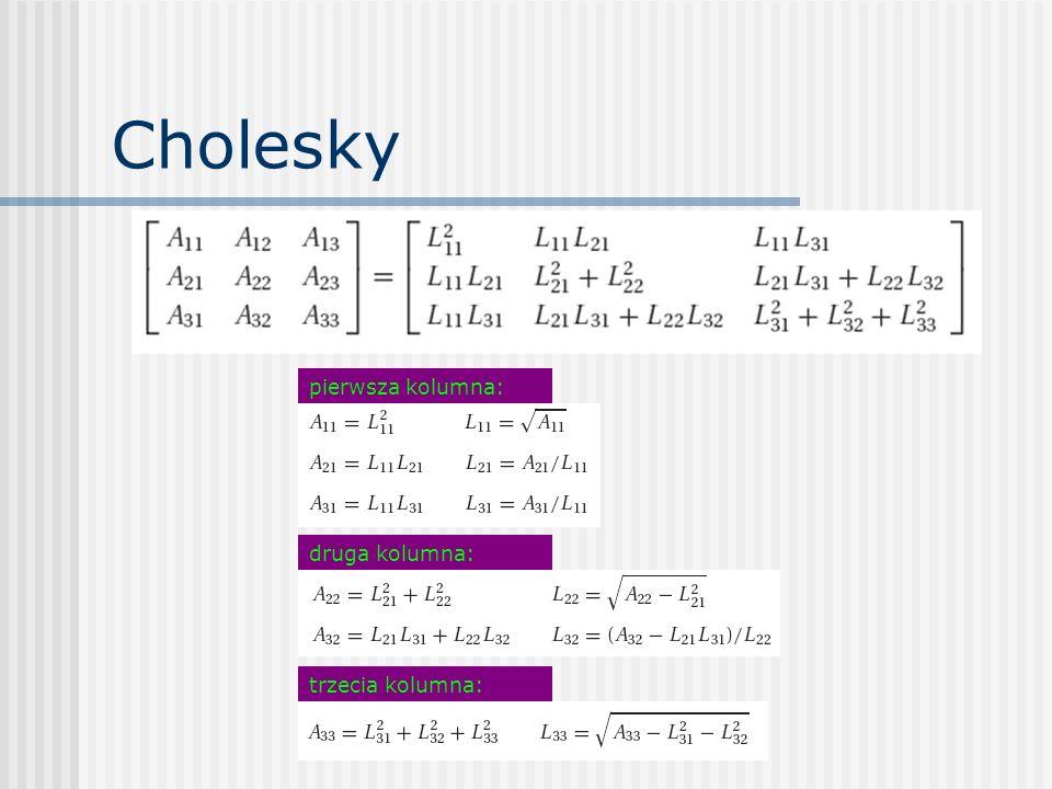 Cholesky pierwsza kolumna: druga kolumna: trzecia kolumna:
