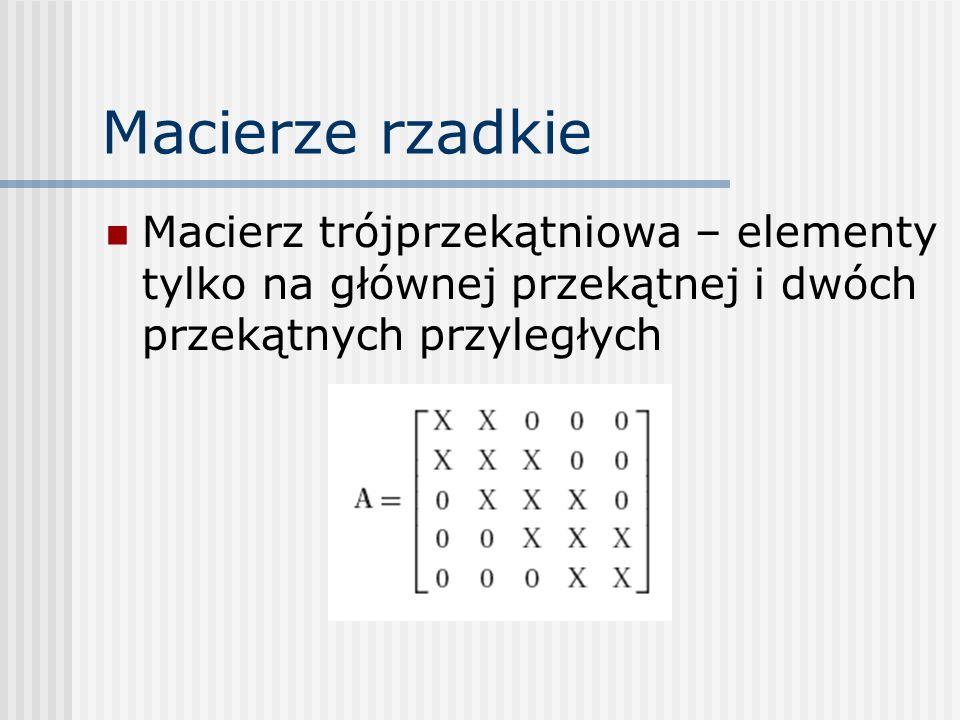 Macierze rzadkie Macierz trójprzekątniowa – elementy tylko na głównej przekątnej i dwóch przekątnych przyległych.